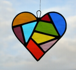 Stained Glass Love Heart in a mixture of coloured textured glass