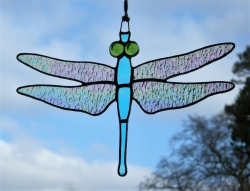 Stained Glass suncatcher (Dragonfly) Iridescent Wings, sky blue body, green eyes