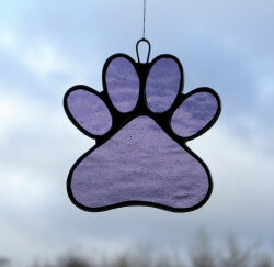 Stained Glass Window Suncatcher (Paw Print) in violet textured glass