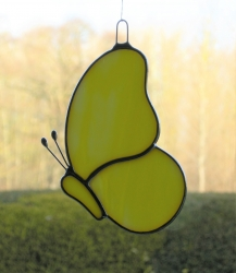 Stained Glass suncatcher (Butterfly) in yellow and white opalescent glass