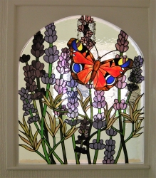 Commissioned Butterfly and Lavender stained glass panel