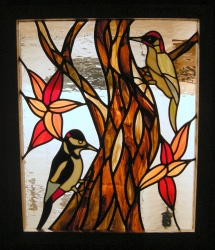 Commissioned Woodpecker stained glass panel