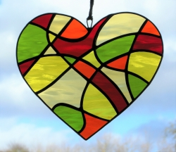Stained Glass suncatcher Abstract Love Heart