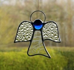 Stained Glass (Angel) in clear textured glass and blue head