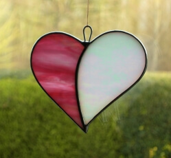 Stained Glass (Love Heart) pink and white iridescent glass