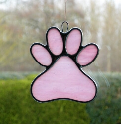 Stained Glass Window Suncatcher (Paw Print) in pink and white glass