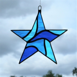 Stained Glass Star (Abstract) in blues rippling water glass