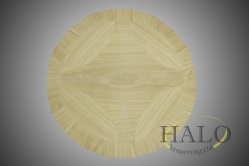 Veneered wine table top.  Oak layed out in a geometric design.