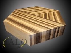 Veneered coffee table.  Walnut, wenge & oak strips following down 3 sides.