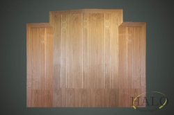 American crown walnut with a circular boxwood line detail.