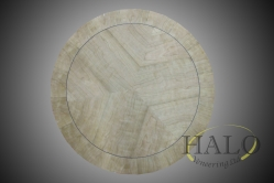 Veneered circular cherry table top  Segmented & bookmatched cherry top with cherry banding and inset black line.