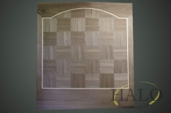 American crown walnut in a chequer design with outter maple line.