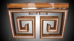 Rosewood writing table  with Mother of Pearl lines, Frame made from angled section.