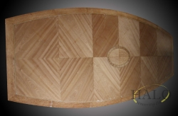 Diamond quatered mahogany withbur madrona bandings & center, black & white inlay lines.