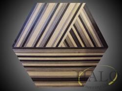 Veneered coffee table top.  Walnut, wenge & oak strips following down 3 sides.