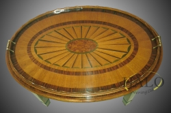 Veneered satinwood oval tray top table  Satinwood with a hand cut fan inlay and rosewood bandings