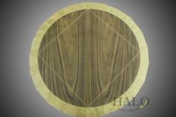 Veneered wine table top.  Santos rosewood with satinwood bandings & inset white lines.