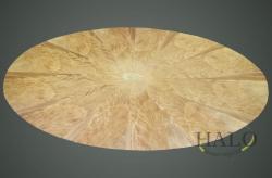Veneered mahogany oval dining table top  Segmented mahogany curl