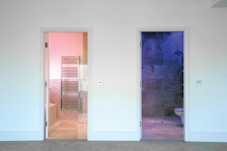 Pink and blue for hers and his bathrooms