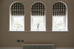 Meticulously crafted bespoke blinds to maintain the shape of these beautiful arches