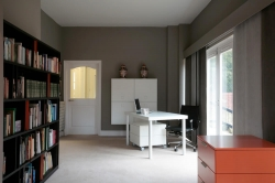 Fabric panels give a contemporary edge to a modern study
