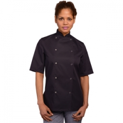 AFD black short sleeve chefs jacket press studs (DD08AFDC).