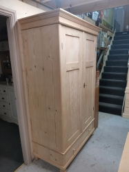 Dutch antique pine double wardrobe