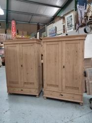 A Deco matching pair of antique Dutch wardrobes
