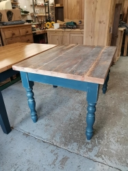 Stiffkey blue old wooded topped table