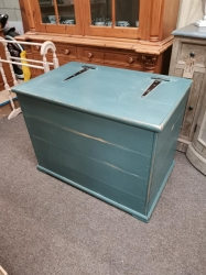 Painted Inchra blue and distressed blanket box