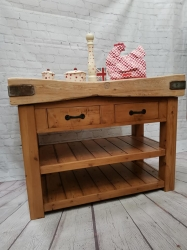 4x2 butchers block on a waxed old pine base / 2 drawers SOLD