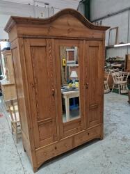 Stunning Arch top Victorian pine robe with mirror door SOLD