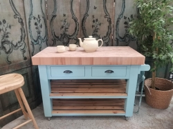 Painted Blue Ground island unit, beech solid top and towel rail