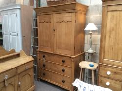 Victorian pine press or linen cupboard