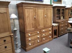 Victorian pine linen press 3 door and 6 drawers