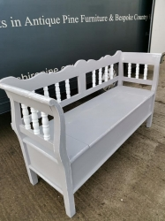 Painted spindle bench with storage