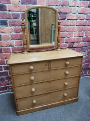 Victorian Pine Chest of Drawers with Dressing Table Mirror