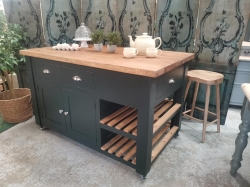 Studio Green large island unit with old pine top and castors