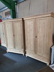 Matching pair of antique pine dutch wardrobes
