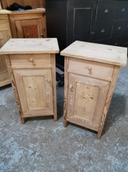 Nice Old Pair of Antique Pine Bedsides