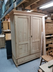 Two door antique pine Dutch robe with single drawer