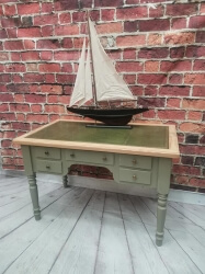 Desk table with leather insert on a painted and distressed frame