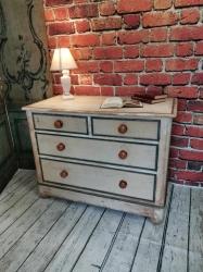 2/3 original painted chest of drawers RARE patina