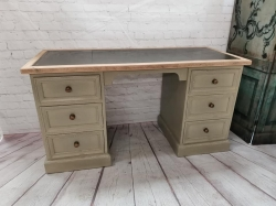 Painted pine pedestal desk with leather insert top SOLD