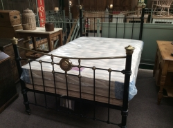 Original Victorian brass and iron bed with new mattress