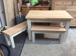 Square legged table with matching benches
