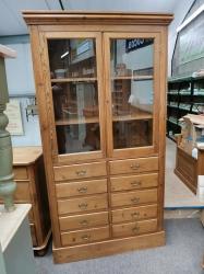 Rare multi drawer bookcase glazed unit Victorian pine