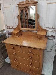 Rare Antique pine dressing chest in original scrumble