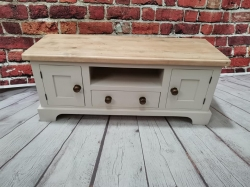 Reclaimed pine and painted tv unit