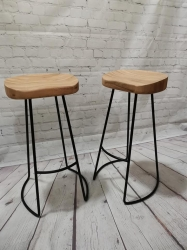 Oak seated with metal frame stool